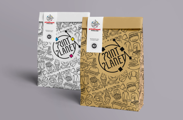 Lunch Pack print planet paper bag